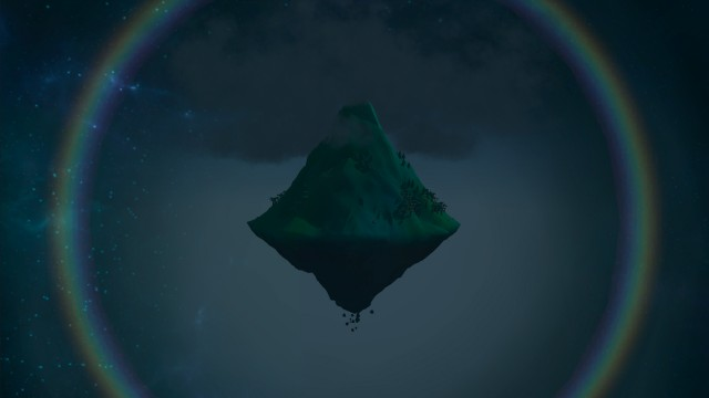 The shimmering distant mountain