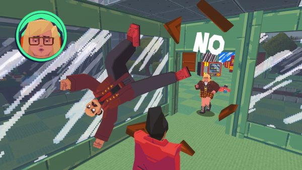 A dynamic, moving protagonist sends a manager and office objects flying with a defiant shout of 'NO'.