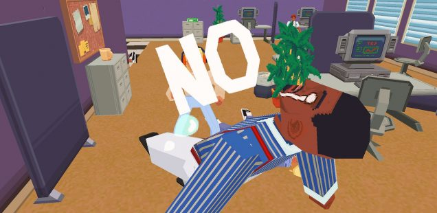 A dazed, weeping office manager is physically thrown backwards by a large full-capped 'NO' emitted by the player character.